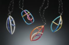 Wire Line Pendants - polymer and nickel silver wire, oxidized sterling chains