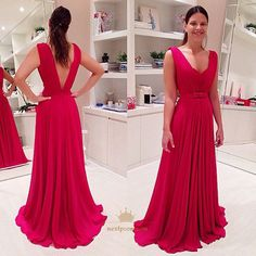 NextProm.com Offers High Quality Simple Red Sleeveless V-Neck Chiffon Long Evening Dress With Open Back,Priced At Only USD $123.00 (Free Shipping)