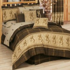Browning Buckmark Brown Queen Comforter Set by Kimlor. $184.99. The Browning Buckmark bedding set is the ideal bedroom decor for outdoorsmen and hunters. All bedding is 100% cotton. Available in Twin, Full, Queen, King, and Cal King.