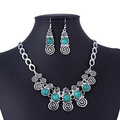 Vintage Circle Pattern Imitation Turquoise Necklace and Earrings(Assorted Colors)               – EUR € 8.63