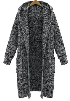 Beautiful Thick Warm Knitted Long Hooded Cardigan Sweater M-5XL