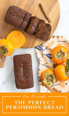 The perfect persimmon bread recipe for the holidays! Persimmons are great for baking projects, and this bread recipe is easy and delicious. Learn how to make persimmon pulp and how to bake persimmon bread to share Persimmon Recipes, Bread Recipes, Baking Recipes, Dessert Recipes, Cookie Recipes, Fall Recipes, Sweet Recipes, Easter Recipes, Sweets