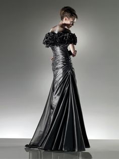 Shimmer Grey Taffeta Floor Length A-line Evening Prom Dress
