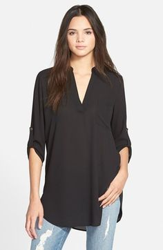 Lush 'Perfect' Roll Tab Sleeve Tunic (Juniors) available at #Nordstrom COMES IN WHITE AND OTHE COLORS ON SALE NOW