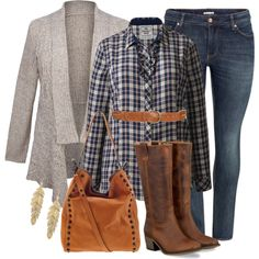 A fashion look from September 2013 featuring H&M jeans, Loeffler Randall shoulder bags and Eye Candy earrings. Browse and shop related looks. Curvy Girl Fashion, Look Fashion, Fashion Outfits, Fashion Tips, Plus Size Fashion For Women, Plus Fashion, Womens Fashion, Mode Country, Country Style