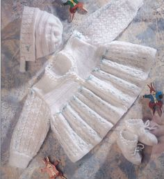 Knit Baby Matinee Coat Bonnet Booties Vintage Knitting Pattern 14-20 inch chest cardigan beanie socks shoes jumper sweater PDF Download