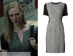 Karen Page (Deborah Ann Woll) wears this grey and black tweed multicolor piped panelled dress in this episode of Daredevil. It is [...]