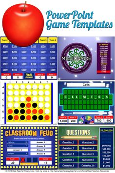 PowerPoint game templates that play just like your students' favorite game shows including Jeopardy, Family Feud, Wheel of Fortune, and more!