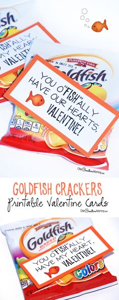 These cute printable valentine cards are so simple! Just print and attach them to your favorite flavor of goldfish crackers. {Perfect for classroom valentines and for family and friends} OneCreativeMommy.com: