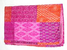 Vintage sari quilt patch work indian kantha quilt by Ayatcreation, $58.49