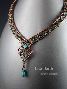 Lisa Barth makes such beautiful things. Wire Pendant, Pendant Jewelry, Jewelry Art, Beaded Jewelry, Fashion Jewelry, Wire Necklace, Wire Wrapped Necklace, Necklaces, Copper Jewelry