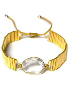 Stone Pendant Gold Link Wrap Bracelet by Guanábana Handmade. Hand-crafted by artisans in Colombia.