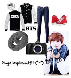 """""""bts suga inspired outfit """" by ashleyyang498 ❤ liked on Polyvore featuring Tommy Hilfiger, Converse and Olympus"""