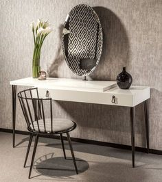 Italian Designer Ivory Lacquered Dressing Table With Mirror - Juliettes Interiors Furniture, Living Room Furniture, Interior, Desk Mirror, Dressing Table Mirror, Table, House Interior, Italian Design, Furniture Design