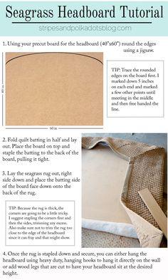 Pottery Barn Knock-Off: Seagrass Headboard – Preciously Paired Coastal Bedrooms, Coastal Living, Loft Bedrooms, Coastal Style, Coastal Decor, Seaside Decor, Seagrass Headboard, Tv Decor, Decor Ideas