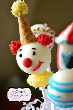 Clown cake pops  www.facebook.com/cakepoppin
