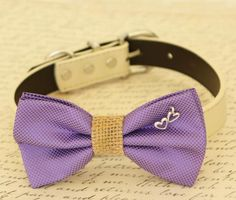 Lavender dog bow tie, Bow tie attached to dog collar, Lavender wedding accessory