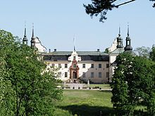 Tyresö Palace (Swedish:Tyresö slott) is a palace from the 17th century in Tyresö, Stockholm County, Sweden, about 25 km south-east of central Stockholm. The construction of the palace began in the 1620s by the Lord High Steward (Swedish: riksdrots) Gabriel Oxenstierna. The palace was completed in 1636. He also constructed the nearby Tyresö Church (Swedish:Tyresö kyrka), which was inaugurated with his own burial in 1641.