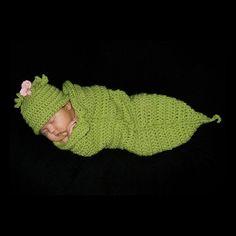 Sweet Pea Photo Prop Crochet Cocoon Pod