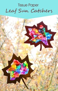 Seasonal crafts are a fun way to get the kids involved in making some colorful decorations for your home. These stained glass tissue paper leaf sun catchers are cheerful and easy to make with card stock and strips of tissue paper. Paper Crafts For Kids, Crafts For Kids To Make, Craft With Paper, Leaf Crafts Kids, Kids Diy, Tissue Paper Crafts, Paper Crafting, Diy Paper, Sun Catchers