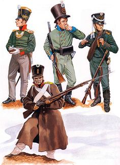 The Russian Army: Capt., Schlusselburg Regt., field dress (1809), Private, Smolensk Regt. (1808), Private, 5th Jägers (1805), Private 1th Jägers (1809)