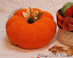 """It's so good to see you on """"My Side Of The Mountain""""! Let's crochet a Big Pumpkin! It's easy! Decorating with these lovely Big Pumpkins is so much fun! Crochet Fall, Holiday Crochet, Crochet Home, Crochet Crafts, Easy Crochet, Crochet Projects, Free Crochet, Crochet Things, Crochet Ideas"""