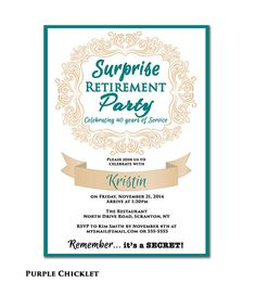 Surprise Retirement Party Invitation Gray Chevron Navy Blue