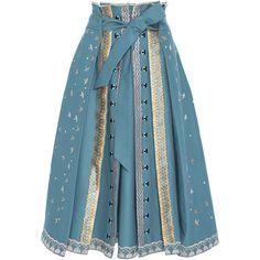 Poppy Field Skirt | Moda Operandi ($1,495) via Polyvore featuring skirts, high-waist skirt, high waisted a line skirt, knee length a line skirt, high rise skirts and blue high waisted skirt