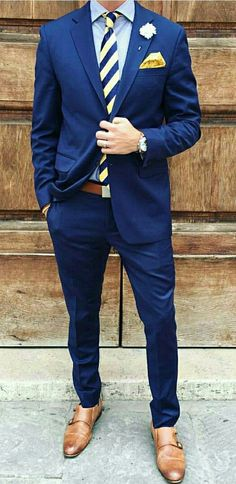 Bright blues and yellows for mens spring style. I love the vibrant blue suit!  #mensfashion #style #men #suit