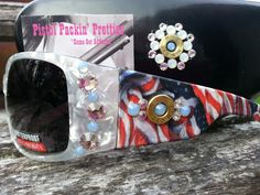 Ice Breakers American Legend flag print sunglasses with .243 completed in crystals and air blue opals, matching case.