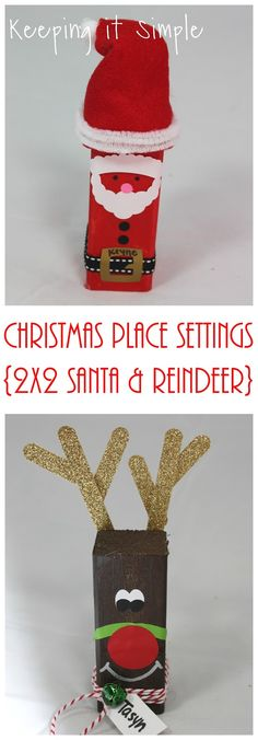 Christmas Place Settings- 2x2 wood Santa and Reindeer #pickyourplum #bakerstwine #washitape