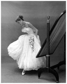 Suzy Parker in lace and tulle evening dress by Jacques Heim, photo by Georges Dambier, ELLE, November 2, 1953