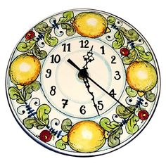 ( Notes: THIS ITEM HAS BEEN JUST SOLD , we need 10 days to make it happen )--Ceramic Wall round Clock. Decorations:Branches of lemon on a white ivory frame with blue curls of old.(being the clock slightly rounded in the back mechanism is well content) (manufactured by hand, not uniform) Net weight Kg.0,650 Dimensions 7,81 Inch x 7,81 Inch -By purchasing directly from the manufacturer of Tuscan craft, you can ask if you want, any other customization, or you can buy now so as you see in the…
