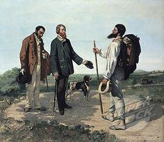 귀스타브 쿠르베 [만남; 안녕하세요 쿠르베씨]  귀스타브 쿠르베는 화가의 경험을 예술의 원천으로 생각하여 평범한 소재를 대상으로 한 사실주의 미술을 추구하였다. 이 작품은 쿠르베가 몽펠리에에 도착하는 장면을 재현한 것으로, 그의 후원자인 알프레드 브뤼야가 하인과 개를 대동하고 마중하러 나오는 장면을 상상해 그린 것이다. 그러나 오른쪽에 있는 화가 자신이 중심 인물이 되고 후원자는 부차적인 구경꾼이 된 구성을 보이고 있다. 브뤼야는 고개를 약간 숙여 쿠르베에게 존경을 표하는 자세인데 비해 쿠르베는 자기 작품을 사주는 후원자 앞에서도 당당히 고개를 세우고 있는 모습이 특이하다. 쿠르베는 실제로 이 그림에 '천재에게 경의를 표하는 부'라는 부제를 붙이기도 했다. 자화상이 아닌 실제를 바탕으로 한 상상의 모습을 그렸는데도 불구하고, 오히려 그의 꼿꼿하게 인사를 하는 모습에서 그의 당당함과 독립적인 성품을 짐작하게 한다.