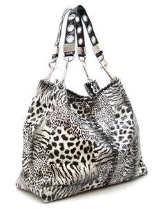 White Tiger Satchel Belt Purse Backpack Bag Print Zebra