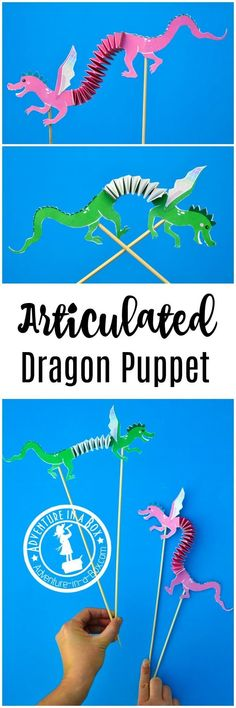 STEM and pretend play come together with kids making this articulated dragon puppet craft. Very simple to make with the free printable template! #artsandcraftswithpaper, #artsandcraftsforkidswithpaper,