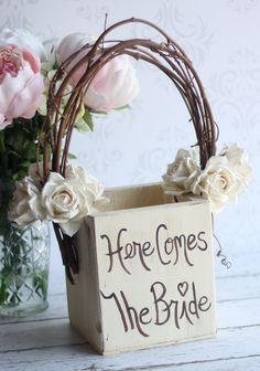 Personalized Flower Girl Basket Rustic Wedding Decor Vintage Roses (item P10105). $50.50, via Etsy.