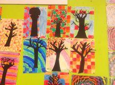 Creatieve herfstles, achtergrond met wasco, boom van zwart papier
