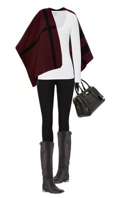 """""""Burberry - Cape, Boots & Bag"""" by jaycee0220 ❤ liked on Polyvore featuring Burberry, Paige Denim and Majestic"""
