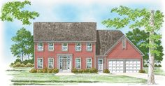 This traditional Colonial design is very popular.  Colonial House Plan # 261005.