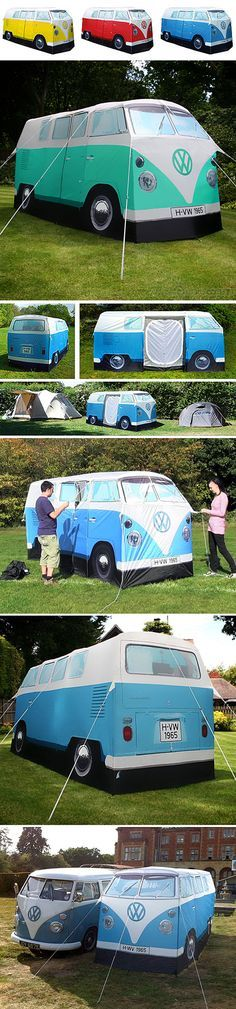 Camp out just like in the old days with the VW Camper Tent. The bus tent is designed to look exactly like the original and iconic VW Bus – and it will hold just as many people as the real bus can. It's the ultimate outdoor hippie experience.