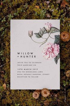 Stunning modern blush botanical Wedding Invitation by Sail and Swan Studio. The design features minimal and modern fonts, on a faded blush pink background, and with a stunning botanical element to the side which has lush pink petals and flowers, green leaves and greenery. Botanical Wedding Invitations, Floral Invitation, Pink Grey, Blush Pink, Pink Petals, Modern Fonts, White Envelopes, Green Leaves, Vintage Floral
