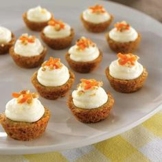 Mini carrot Pampered Chef cupcakes. www.pamperedchef.biz/darlenecfreeman