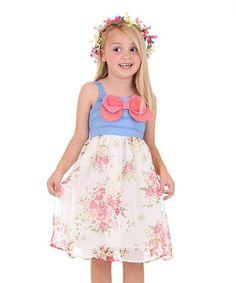Loving this Bonny Billy White & Blue Floral Babydoll Dress - Toddler & Girls on #zulily! #zulilyfinds