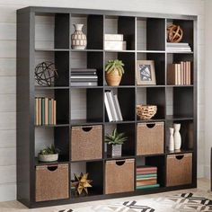 Better Homes and Gardens 25 Cube Organizer Room Divider, Espresso, Size: 09 inch Room Divider Bookcase, Cube Bookcase, Cube Shelves, Bookcase Storage, Cube Storage, Office Storage, Ikea Room Divider, Bookcases, Living Room Furniture