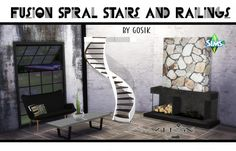Sims 4 Designs: Fusion spiral stairs converted from TS3 to TS4 by Gosik • Sims 4 Downloads