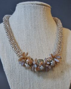 Golden Lined Crystal Drop Bead Kumihimo Necklace, Grace Lampwork Beaded Necklace, Beaded Kumihimo Necklace