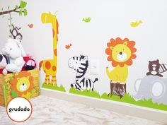 Adesivo de Parede Infantil Safari   Grudado