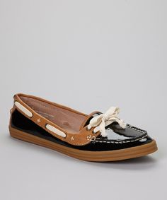 This Black Orissa Patent Leather Boat Shoe by Tommy Bahama is perfect! #zulilyfinds