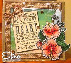 Hawaii Flower digi, card designed by Elina for Little Blue Button Stamps design team.
